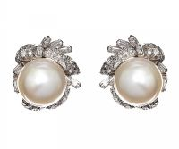 14CT WHITE GOLD PEARL AND DIAMOND EARRINGS at Ross's Jewellery Auctions