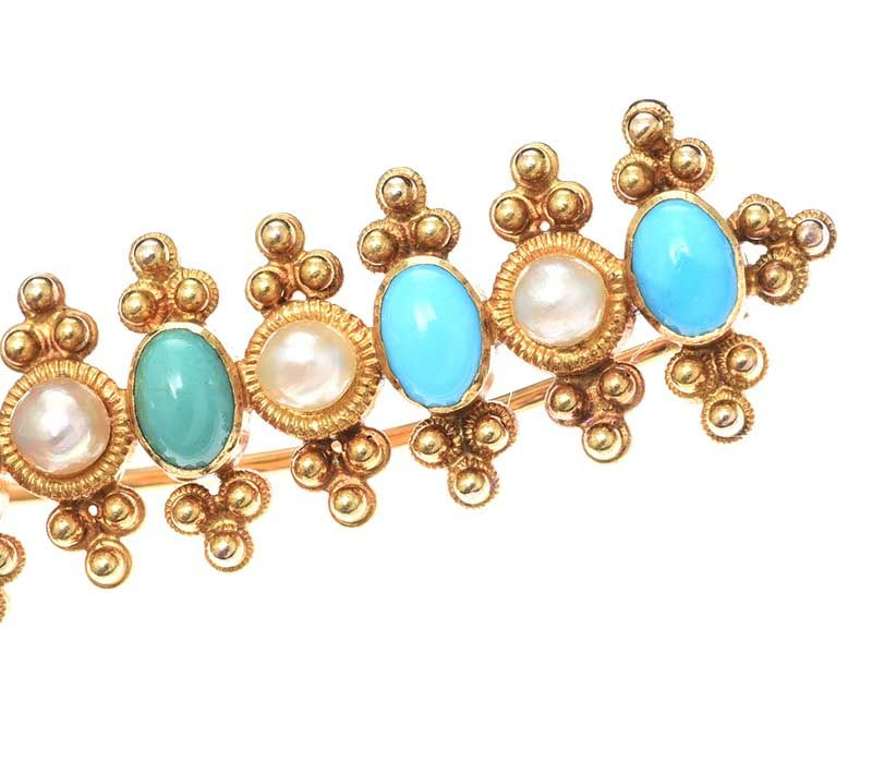 14CT GOLD TURQUOISE AND SEED PEARL BAR BROOCH at Ross's Online Art Auctions