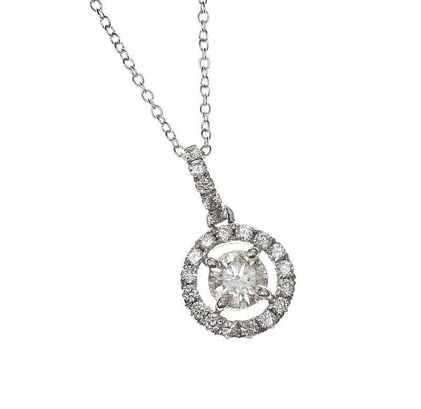 18CT WHITE GOLD DIAMOND HALO PENDANT at Ross's Online Art Auctions