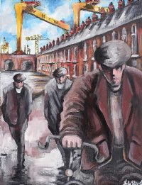 HARLAND & WOLFF HEADING DOWN THE STREET by John Stewart at Ross's Auctions