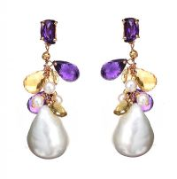 18CT ROSE GOLD PEARL, AMETHYST AND CITRINE EARRINGS by Amethyst at Ross's Auctions