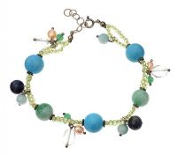 STERLING SILVER PERIDOT, TURQUOISE, FREHWATER PEARL BRACELET at Ross's Jewellery Auctions