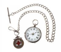 STERLING SILVER POCKET WATCH AND CHAIN at Ross's Jewellery Auctions