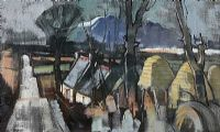 SNOW ON MUCKISH, WINTER LANDSCAPE by Robert Taylor  Carson RUA at Ross's Auctions