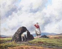 STACKING TURF IN THE GLENS by Charles McAuley at Ross's Auctions