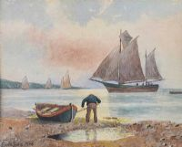 CLEANING THE BOAT by Edward Lewis at Ross's Auctions