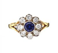 GOLD-PLATED SAPPHIRE AND CUBIC ZIRCONIA RING at Ross's Auctions