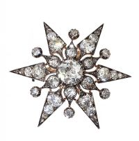 VICTORIAN 18CT GOLD DIAMOND STARBURST PENDANT/BROOCH at Ross's Auctions