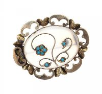 VICTORIAN 9CT GOLD CHALCEDONY AND TURQUOISE 'FORGET-ME-NOT' BROOCH at Ross's Jewellery Auctions