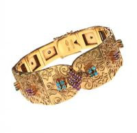 1960'S 18CT GOLD TURQUOISE AND RUBY BRACELET at Ross's Jewellery Auctions