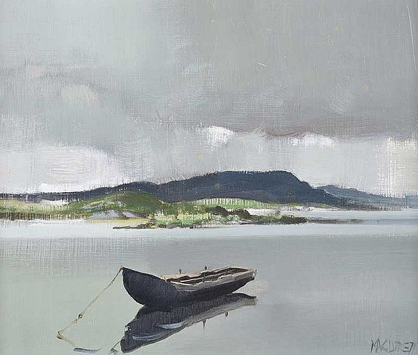 CURRAGH AT BALLYCONNEELEY, CONNEMARA by Cecil Maguire RUA at Ross's Online Art Auctions