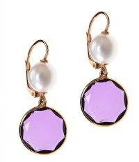 18CT GOLD AMETHYST AND PEARL EARRINGS at Ross's Auctions