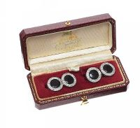 18CT GOLD ONYX AND DIAMOND CUFFLINKS at Ross's Jewellery Auctions