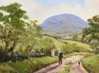 DRIVING SHEEP, SLEMISH by Nigel Allison at Ross's Auctions