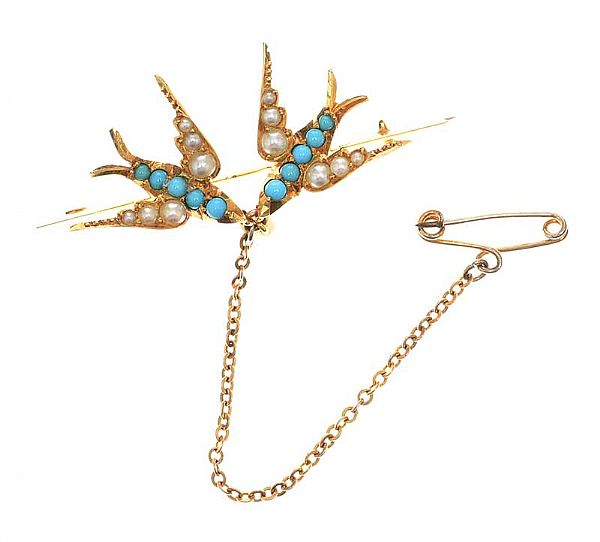 ANTIQUE GOLD-TONE SEED PEARL AND TURQUOISE BROOCH at Ross's Online Art Auctions