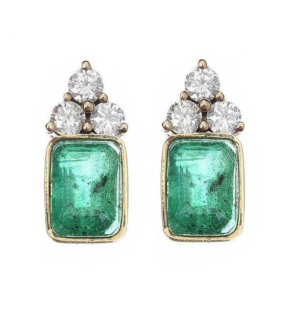 18CT GOLD EMERALD AND DIAMOND EARRINGS at Ross's Online Art Auctions