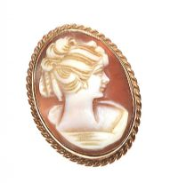 9CT GOLD MOUNTED CAMEO BROOCH at Ross's Jewellery Auctions