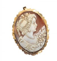 9CT GOLD MOUNTED CAMEO BROOCH/PENDANT at Ross's Jewellery Auctions