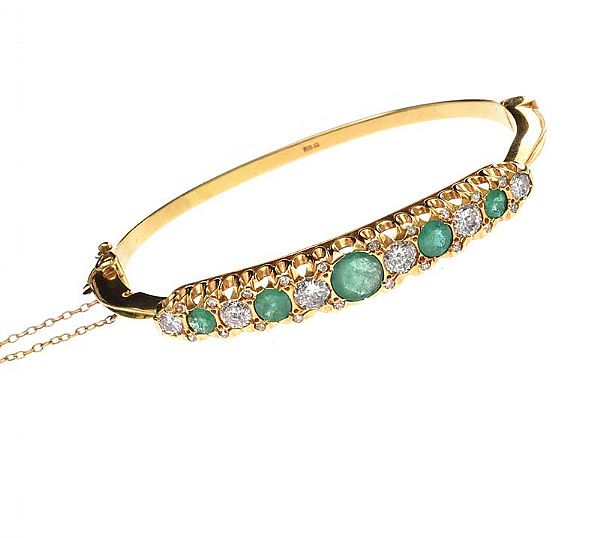 18CT GOLD EMERALD AND DIAMOND BANGLE at Ross's Online Art Auctions