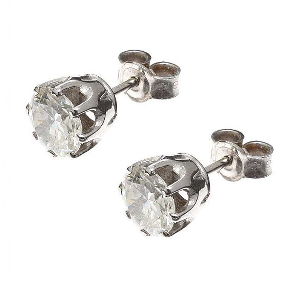 PAIR OF DIAMOND STUD EARRINGS at Ross's Online Art Auctions