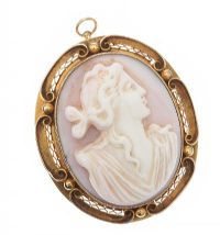 14CT GOLD MOUNTED CAMEO BROOCH at Ross's Jewellery Auctions