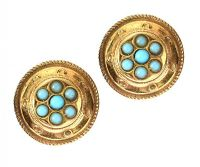VICTORIAN 15CT GOLD TURQUOISE EARRINGS at Ross's Jewellery Auctions