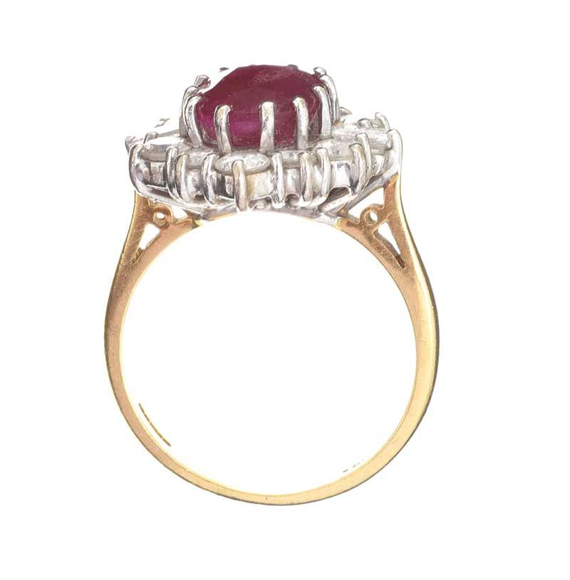18CT GOLD RUBY AND DIAMOND CLUSTER RING at Ross's Online Art Auctions