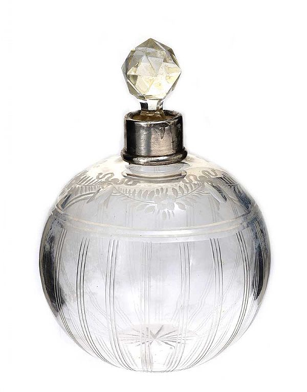 ETCHED GLASS PERFUME BOTTLE at Ross's Online Art Auctions