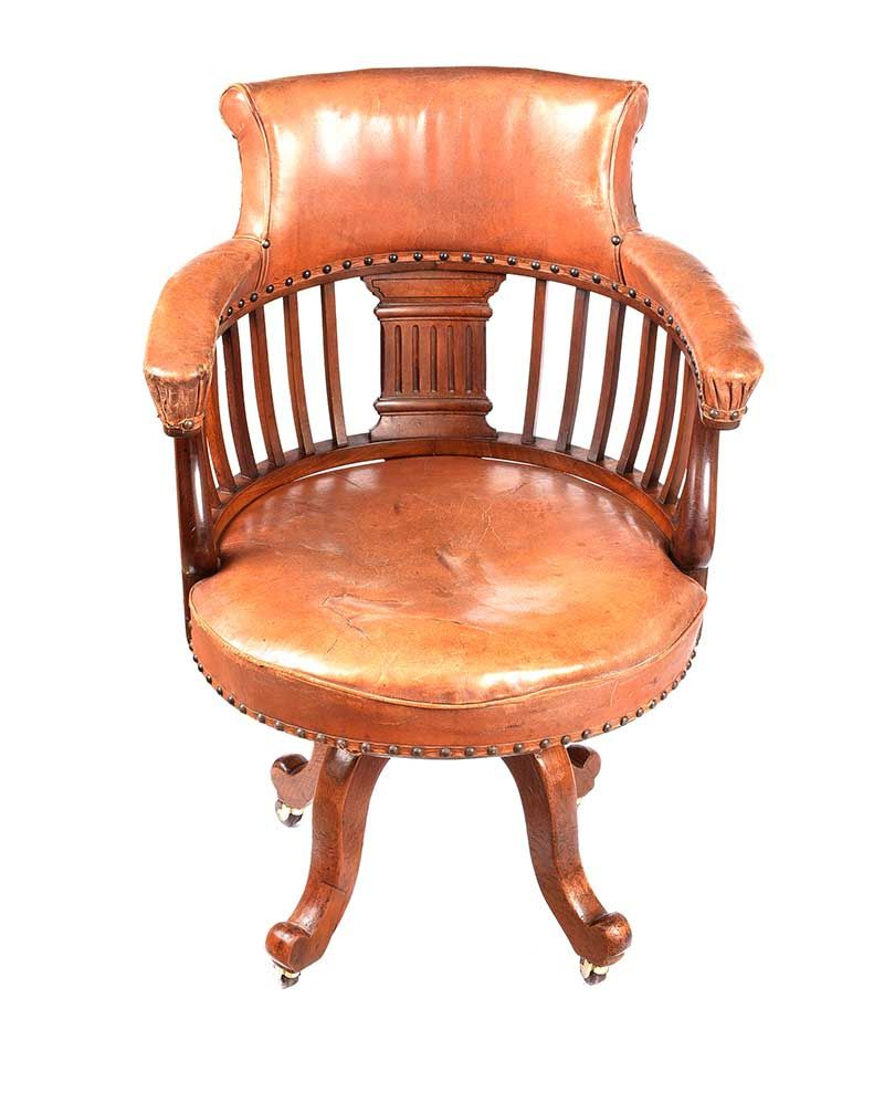 VICTORIAN MAHOGANY DESK CHAIR at Ross's Online Art Auctions