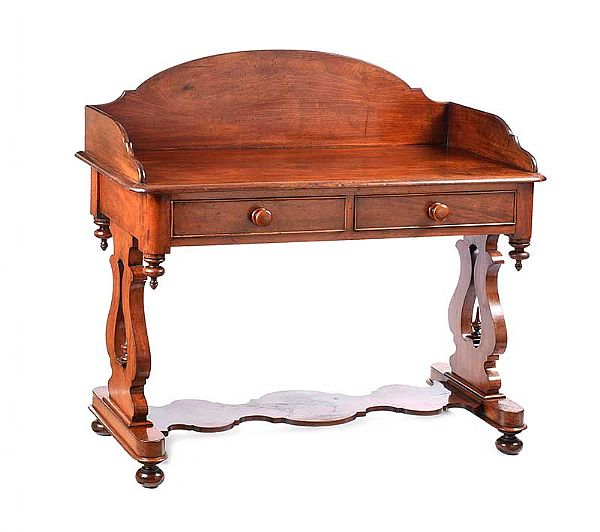 VICTORIAN MAHOGANY GALLERY BACK SIDE TABLE at Ross's Online Art Auctions