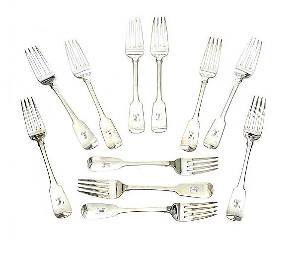 SET OF TWELVE IRISH SILVER FORKS at Ross's Online Art Auctions