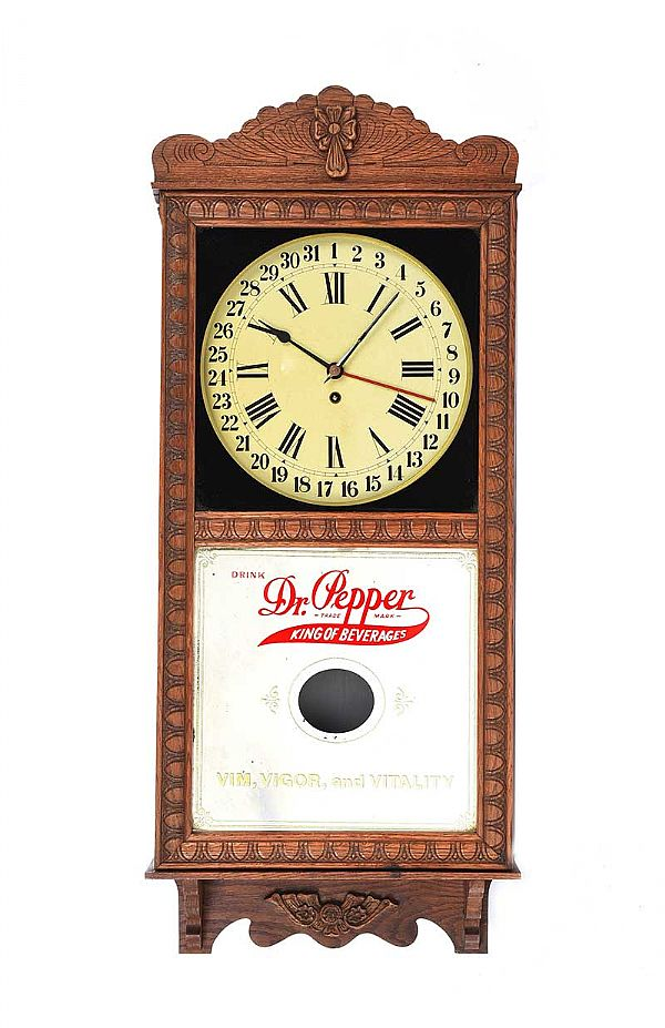 AMERICAN ADVERTISING OAK WALL CLOCK at Ross's Online Art Auctions