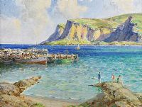 BATHERS BY THE PIER, WATERFOOT, COUNTY ANTRIM by James Humbert Craig RHA RUA at Ross's Auctions