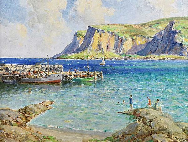 BATHERS BY THE PIER, WATERFOOT, COUNTY ANTRIM by James Humbert Craig RHA RUA at Ross's Online Art Auctions
