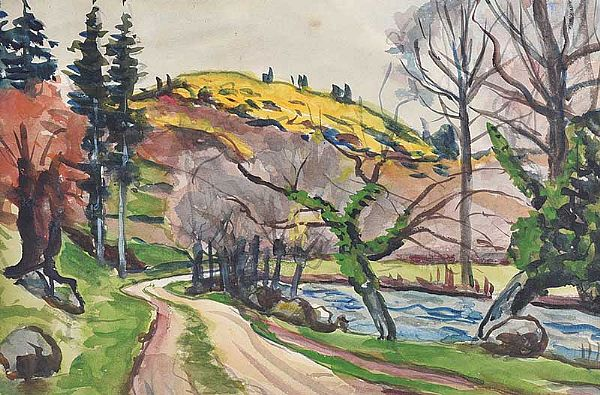 PATH BY THE RIVER by Gerard Dillon at Ross's Online Art Auctions
