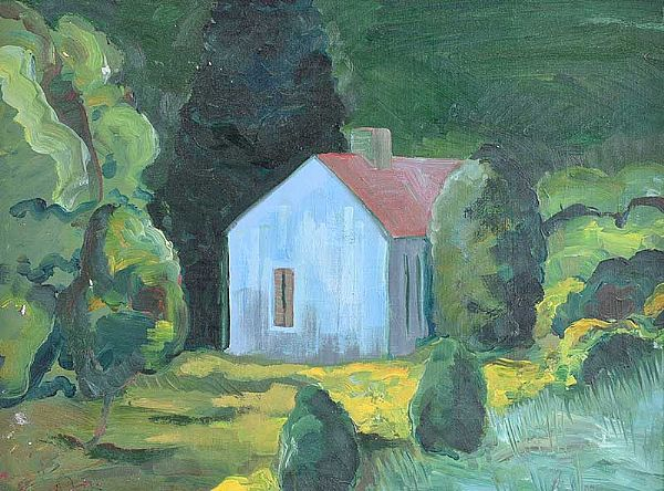 STUDY FOR THE BLUE HOUSE, FERMANAGH by Rita Duffy RUA at Ross's Online Art Auctions