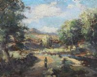FIGURE ON A PATH BY A RIVER by Charles McAuley at Ross's Auctions