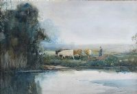 DRIVING CATTLE by Frank McKelvey RHA RUA at Ross's Auctions