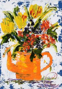 ORANGE TEA POT by Lynda Cookson at Ross's Auctions