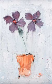 PURPLE FLOWERS IN A VASE by Colin Flack at Ross's Auctions