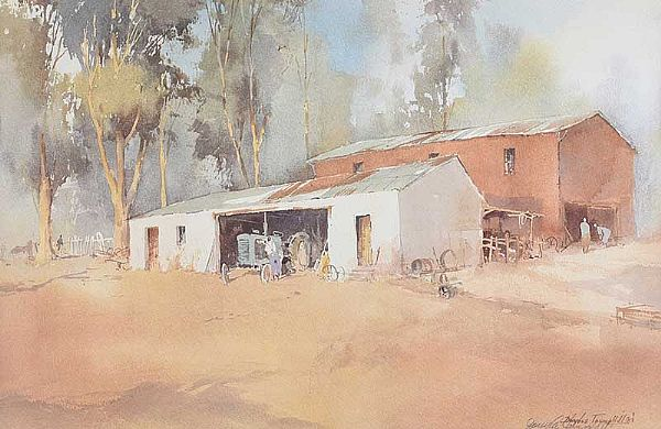 FARM BUILDINGS by Douglas Tannerhill at Ross's Online Art Auctions