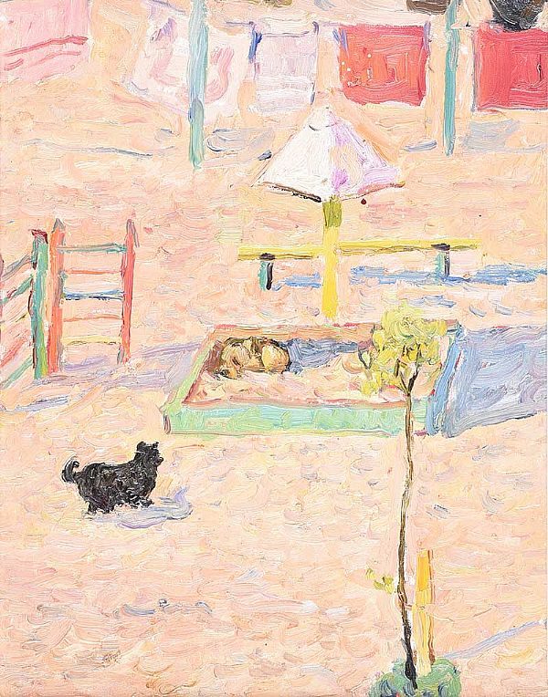 BEACH SCENE WITH A DOG by Piotr Borisivi Krohonya at Ross's Online Art Auctions