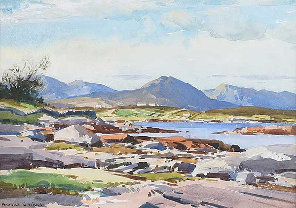EVENING, CATHAL MOUNTAIN, COUNTY GALWAY by Maurice Canning  Wilks ARHA RUA at Ross's Online Art Auctions