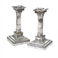 ANTIQUE STERLING SILVER CORINTHIAN CANDLESTICKS at Ross's Auctions