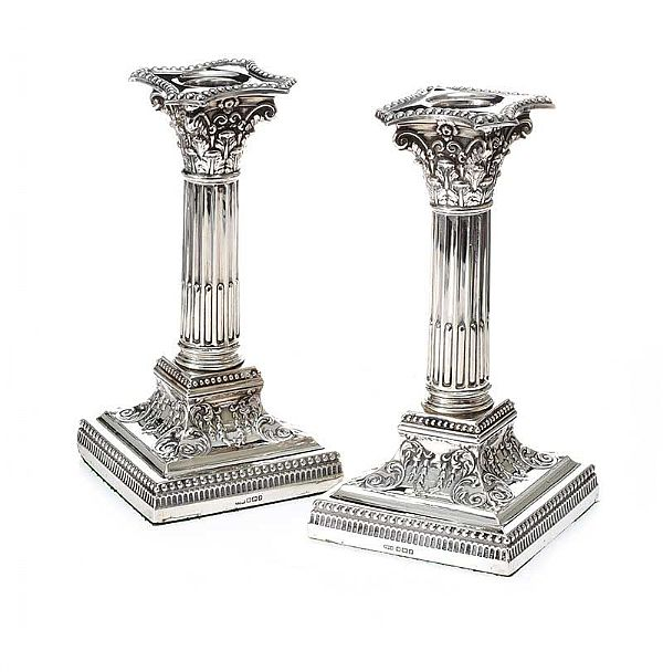 ANTIQUE STERLING SILVER CORINTHIAN CANDLESTICKS at Ross's Online Art Auctions