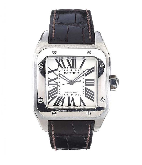 CARTIER 'SANTOS 100' GENT'S STAINLESS STEEL WRIST WATCH at Ross's Online Art Auctions