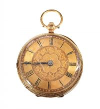18CT GOLD OPEN-FACED POCKET WATCH at Ross's Auctions