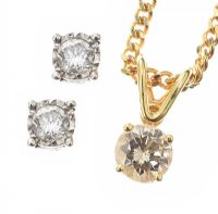 14CT GOLD AND DIAMOND NECKLACE AND EARRING SUITE at Ross's Auctions