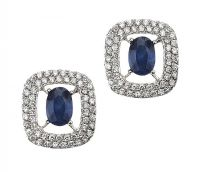 18CT WHITE GOLD SAPPHIRE AND DIAMOND CLUSTER EARRINGS at Ross's Auctions