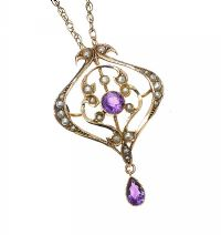 EDWARDIAN 9CT GOLD AMETHYST NECKLACE at Ross's Auctions